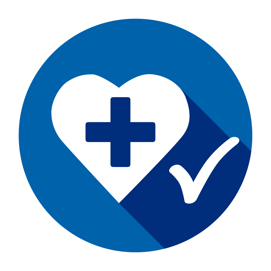 BK-Med logo: blue circle with a white heart and a blue cross with a white check mark next to it