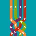 IELD logo: On a teal background four bands in the colors orange, green, purple and red each with a capital letter form the word EASY. The bands start at the top and become entangled towards the bottom mixing the four letters.