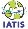 IATIS Logo, dark blue font and a globe with continents in green and two crossing arrows around it